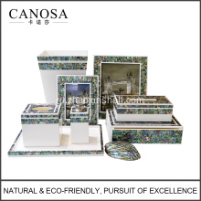 Polyresin Bathroom Accessory Set with Abalone Shell